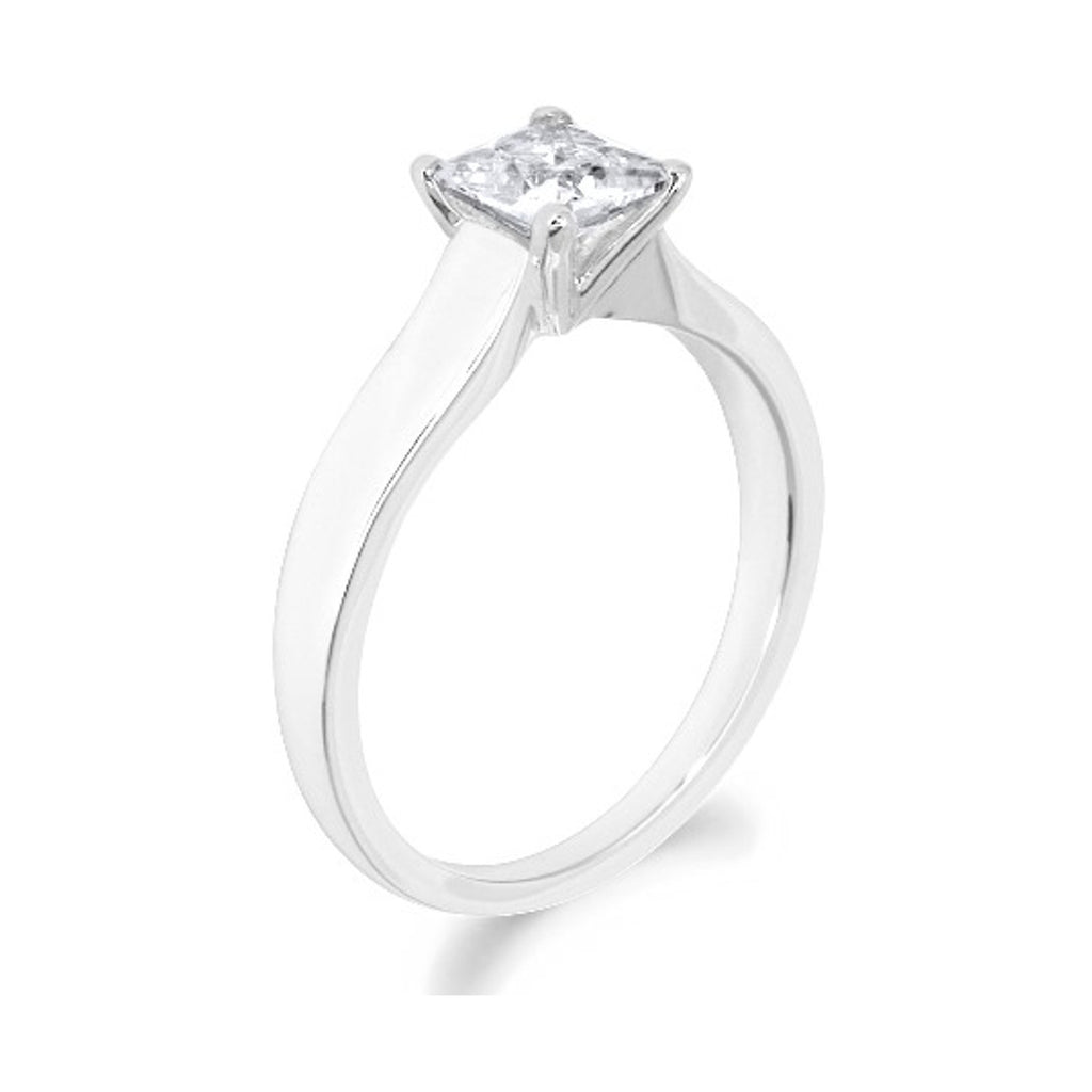 4 Claw Tapered Shank Princess Cut 18ct White Gold Solitaire