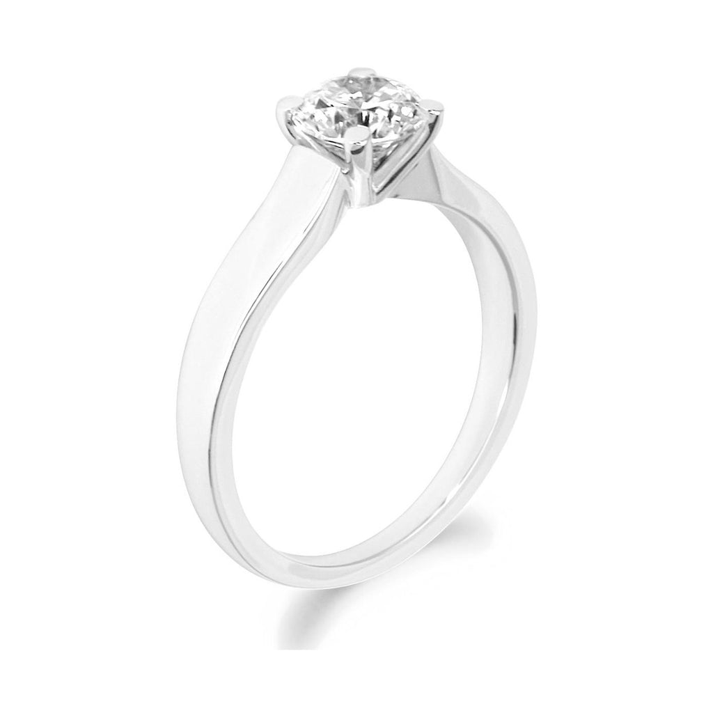 4 Claw Tapered Shank Brilliant Cut Platinum Solitaire