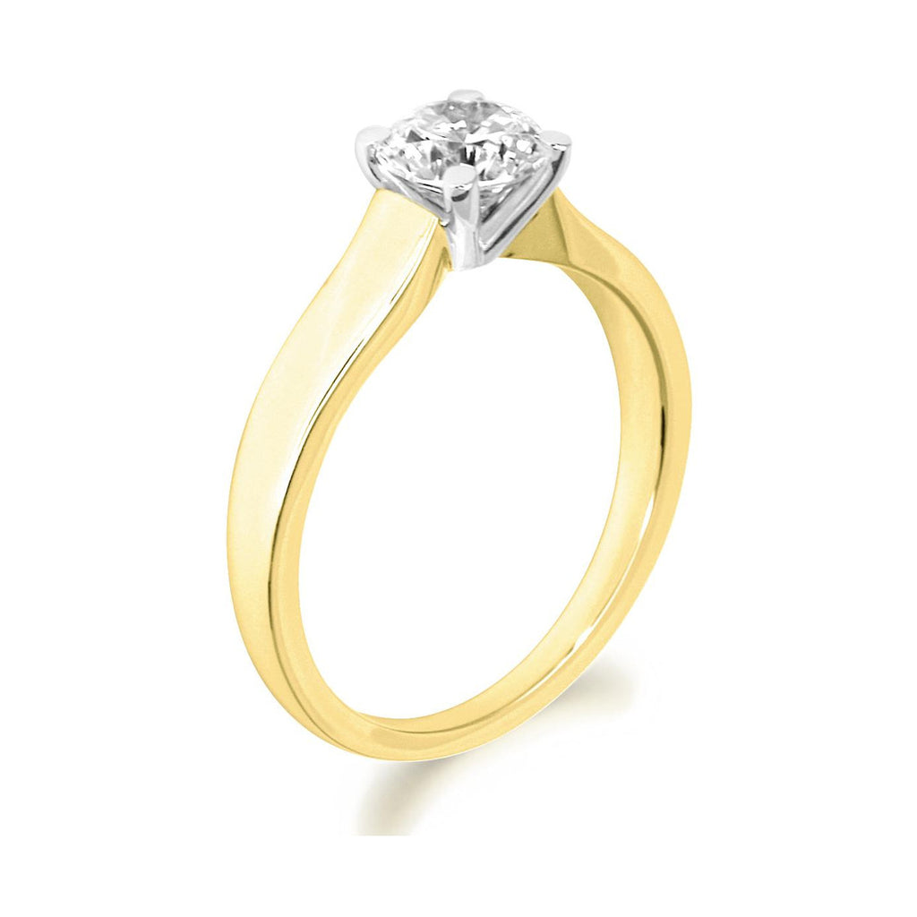 4 Claw Tapered Shank Brilliant Cut 18ct Yellow Gold Solitaire