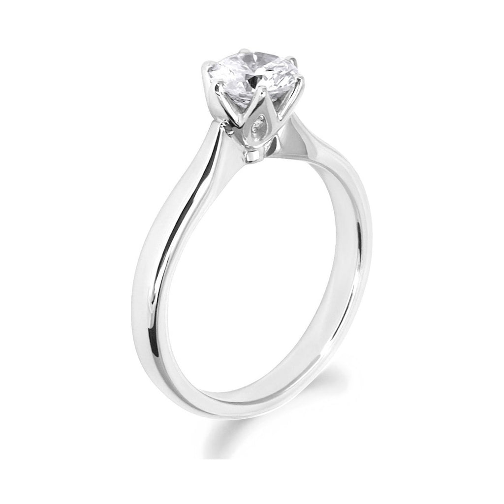 6 Claw Petal Inspired 18ct White Gold Solitaire