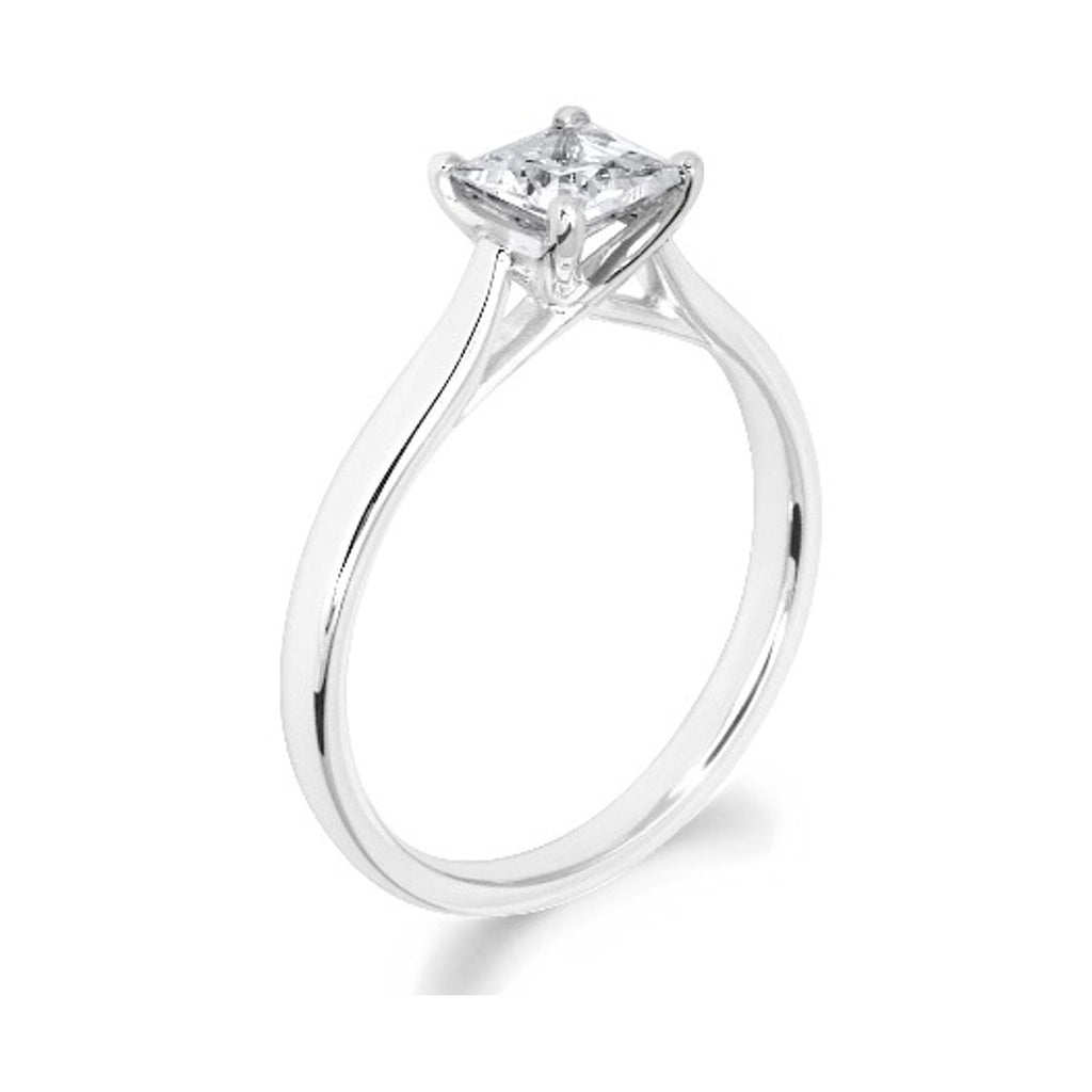 4 Claw Kiss Crossover Claw Princess Cut 18ct White Gold Solitiare