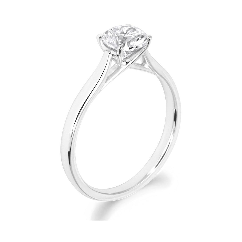 4 Claw Kiss Crossover Claw Brilliant Cut 18ct White Gold Solitiare