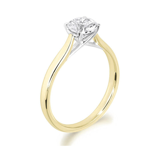 4 Claw Kiss Crossover Claw Brilliant Cut 18ct Yellow Gold Solitiare