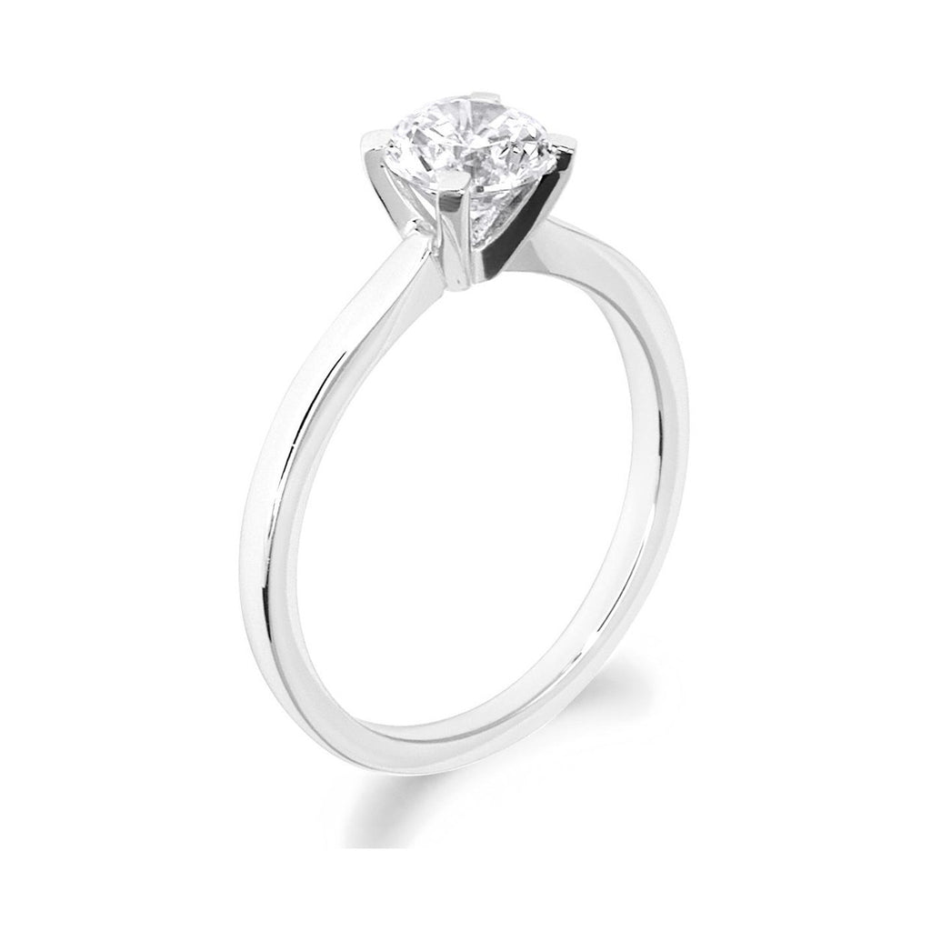 4 Claw Square Claws Brilliant Cut 18ct White Gold Solitaire