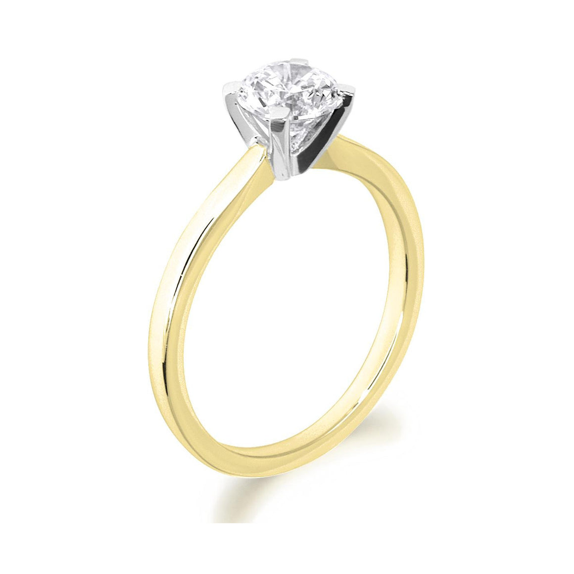4 Claw Square Claws Brilliant Cut 18ct Yellow Gold Solitaire