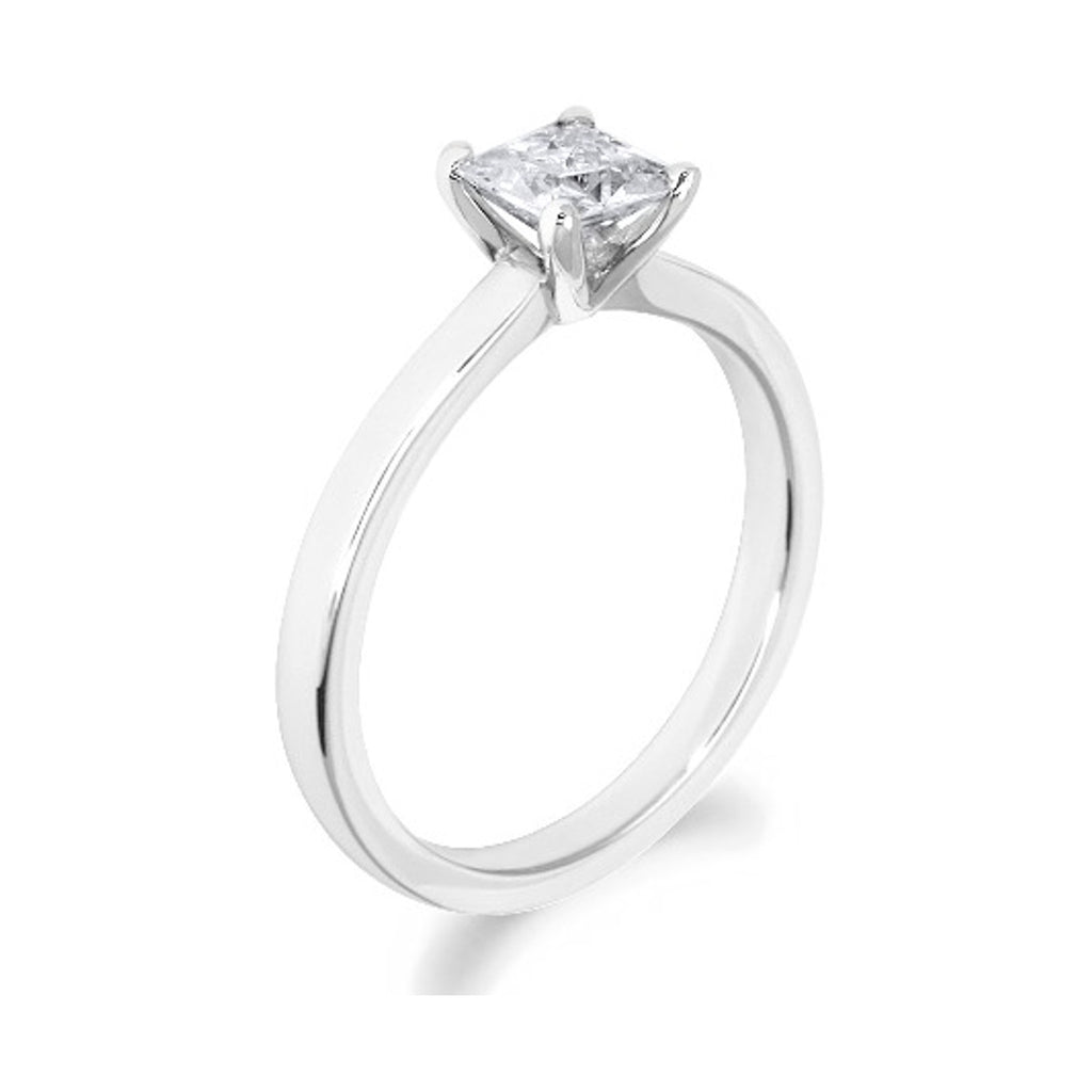 4 Claw Timeless Princess Cut 18ct White Gold Solitaire