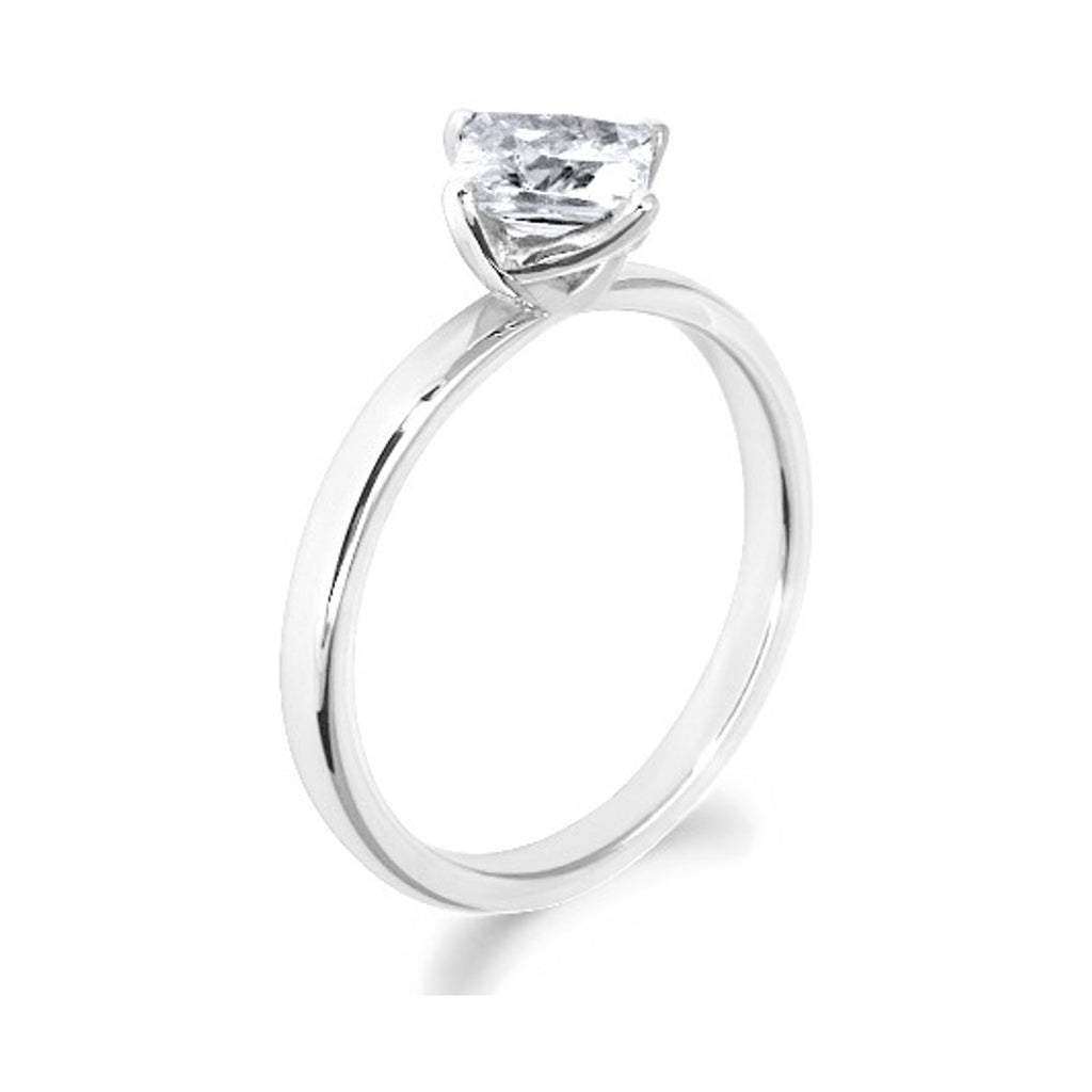 4 Claw Petal Inspired Princess Cut 18ct White Gold Solitaire