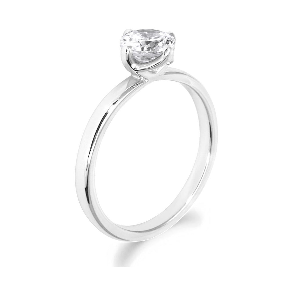 4 Claw Petal Inspired Brilliant Cut 18ct White Gold Solitaire