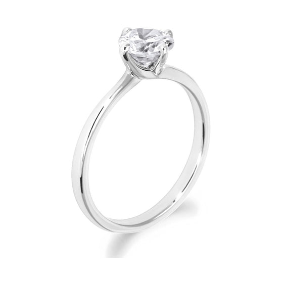 4 Claw Crossover Twist Brilliant Cut 18ct White Gold Solitiare