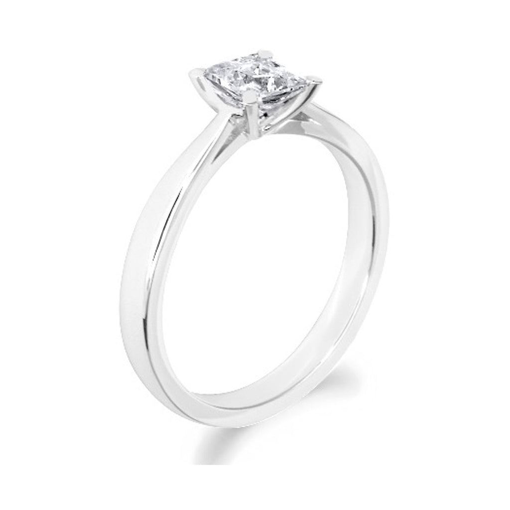 4 Claw Low Rise Princess Cut 18ct White Gold Solitaire