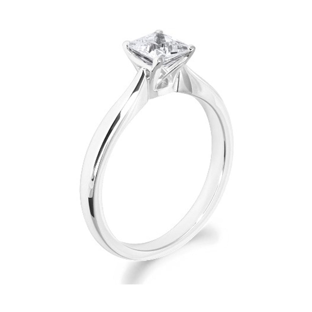 4 Claw Lattice Detail Princess Cut Platinum Solitaire