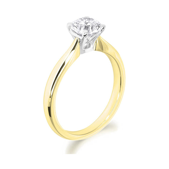 4 Claw Lattice Detail Brilliant Cut 18ct Yellow Gold Solitaire