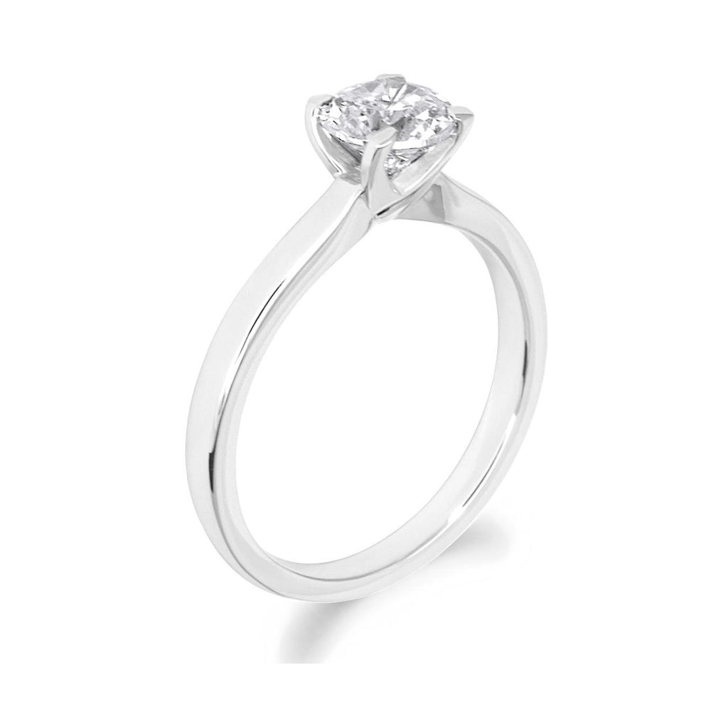 4 Claw Parallel Shank Brilliant Cut Platinum Solitaire