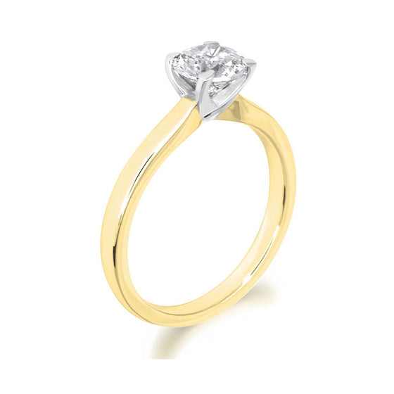4 Claw Parallel Shank Brilliant Cut 18ct Yellow Gold Solitaire