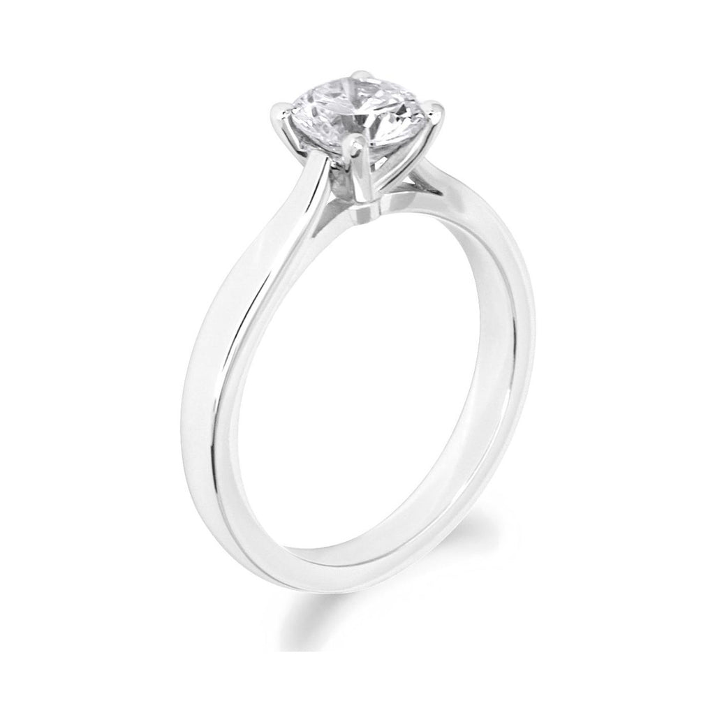 4 Claw Brilliant Cut Open Shoulder Platinum Solitaire