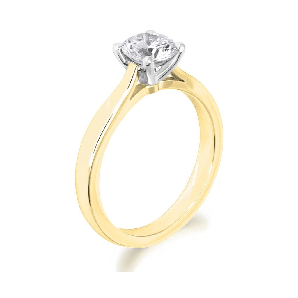 4 Claw Brilliant Cut Open Shoulder 18ct Yellow Gold Solitaire