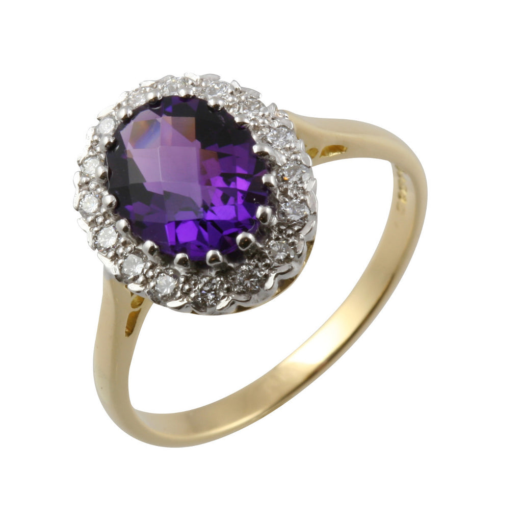 Facetted Amethyst & Diamond Cluster Ring