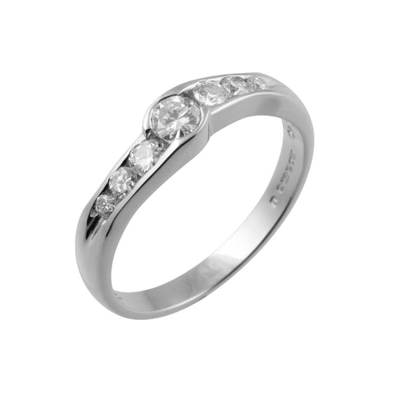 7 Stone Slight Crossover Diamond Ring