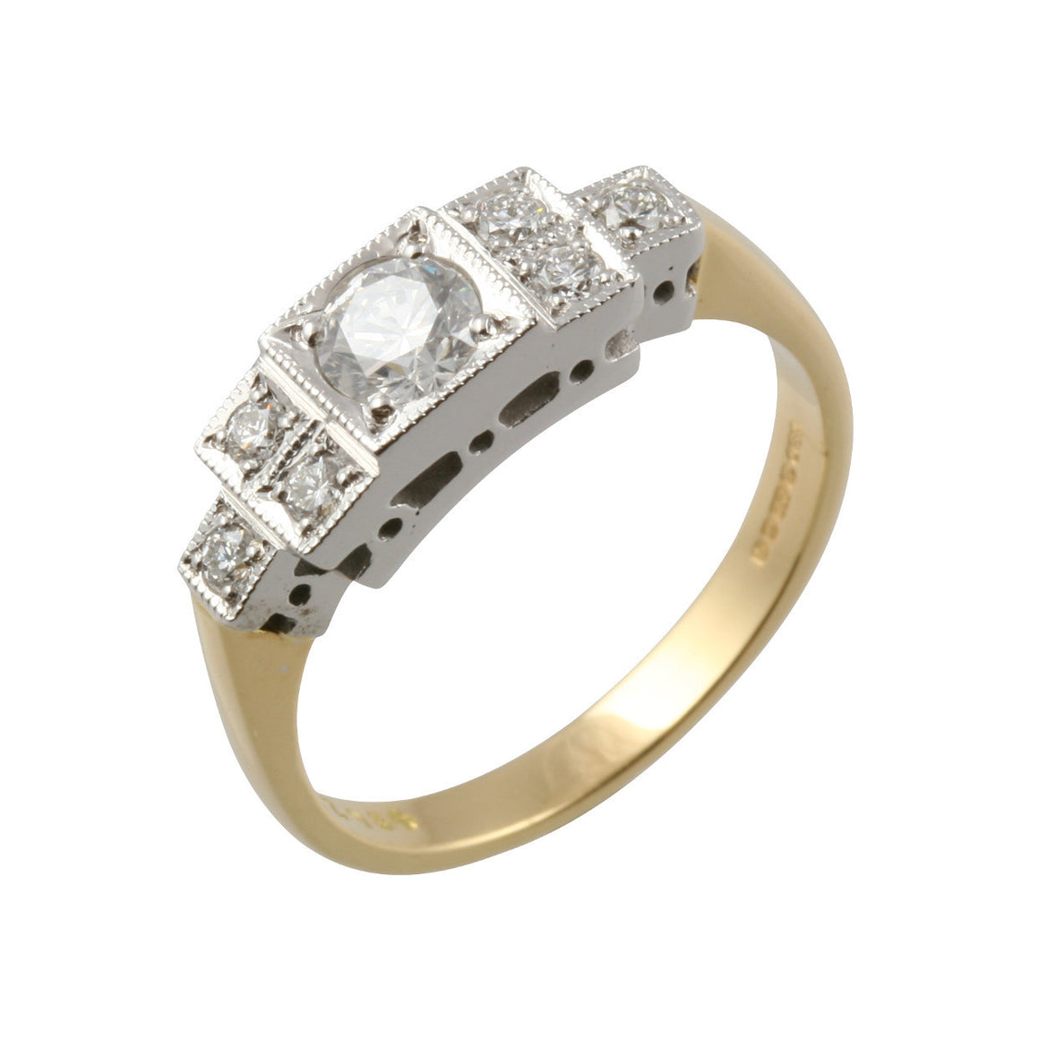 Art Deco Style 7 Diamond Gold Ring