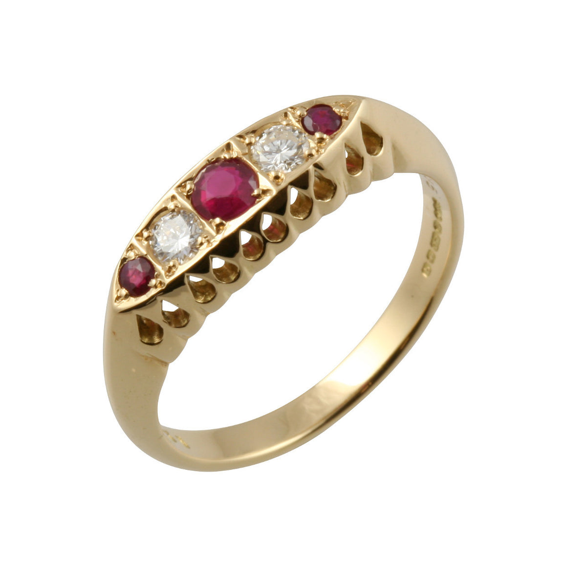 Victorian Style Ruby & Diamond Gold Ring