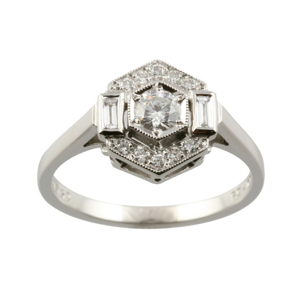 Art Deco Style Baguette & Round Diamond Ring