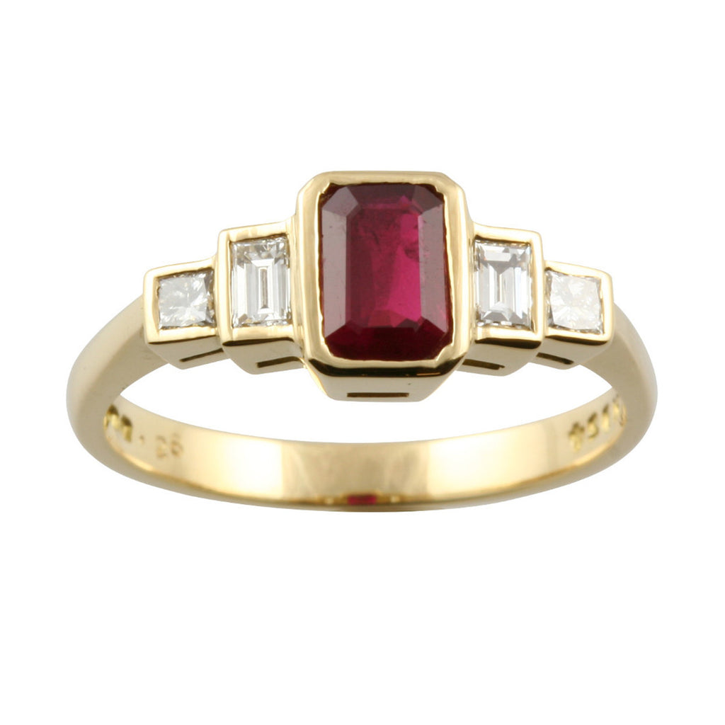 Graduated 5 Stone Diamond & Ruby Ring