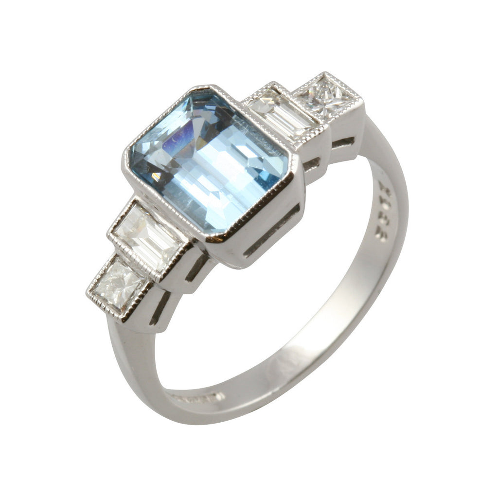 Art Deco Style Diamond & Aquamarine Ring