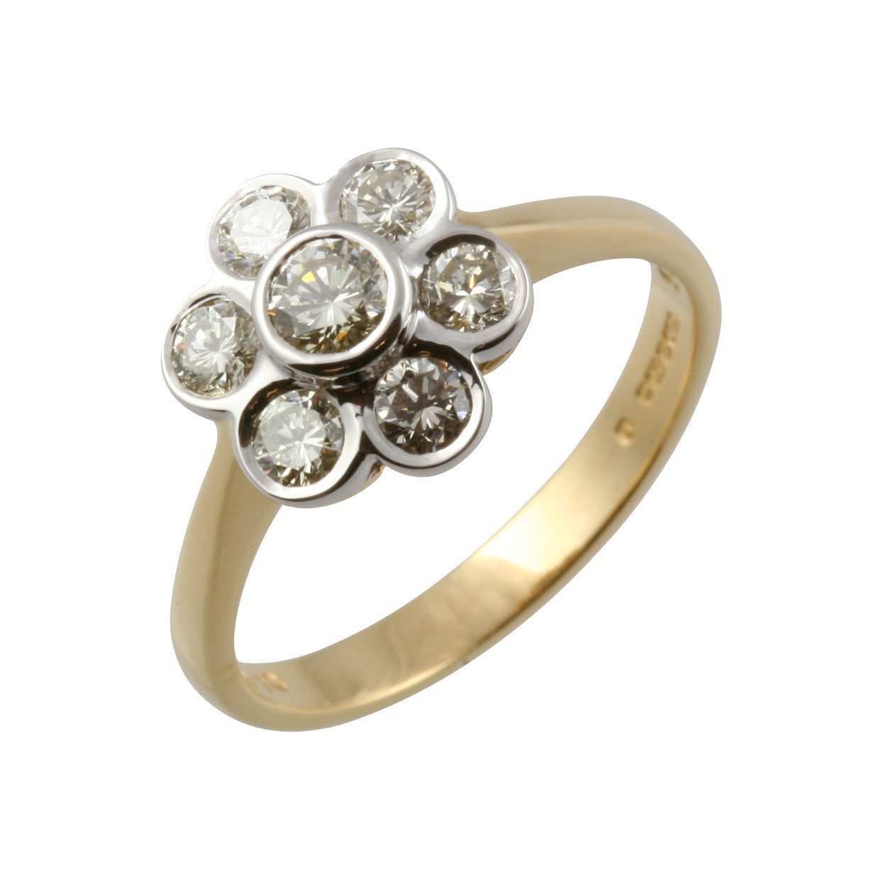 bridal ring rings yellow brilliant gold diamond cut stone cluster image