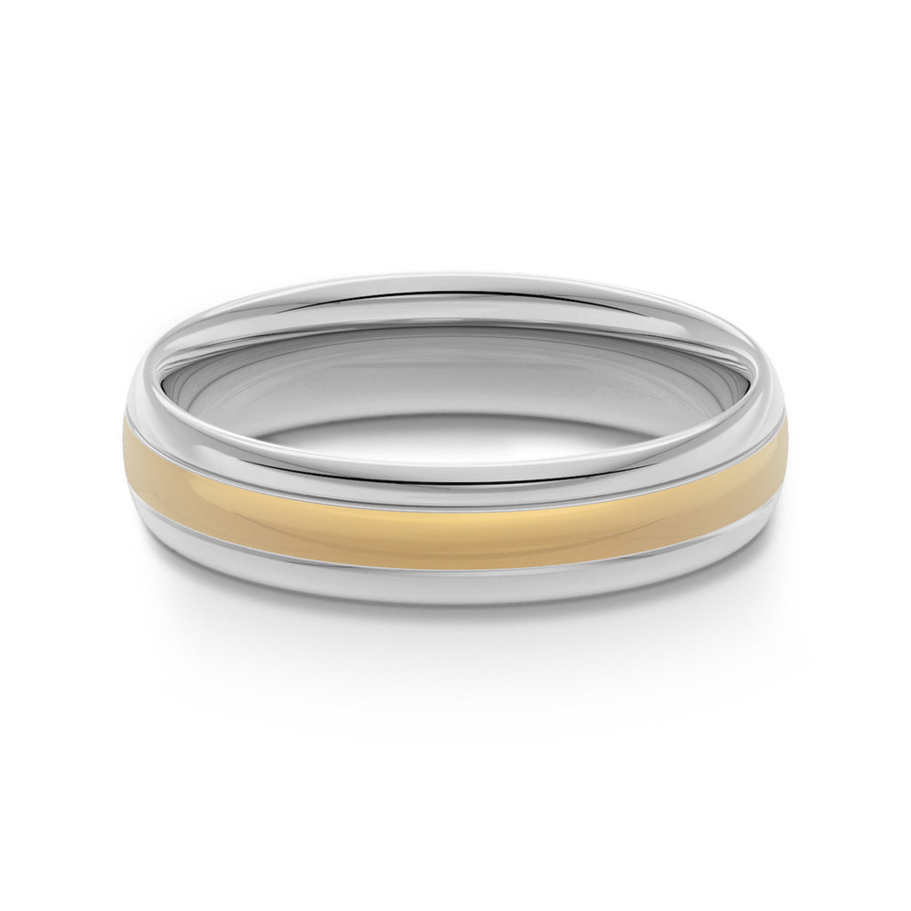 Two Tone Classic Court Wedding Ring
