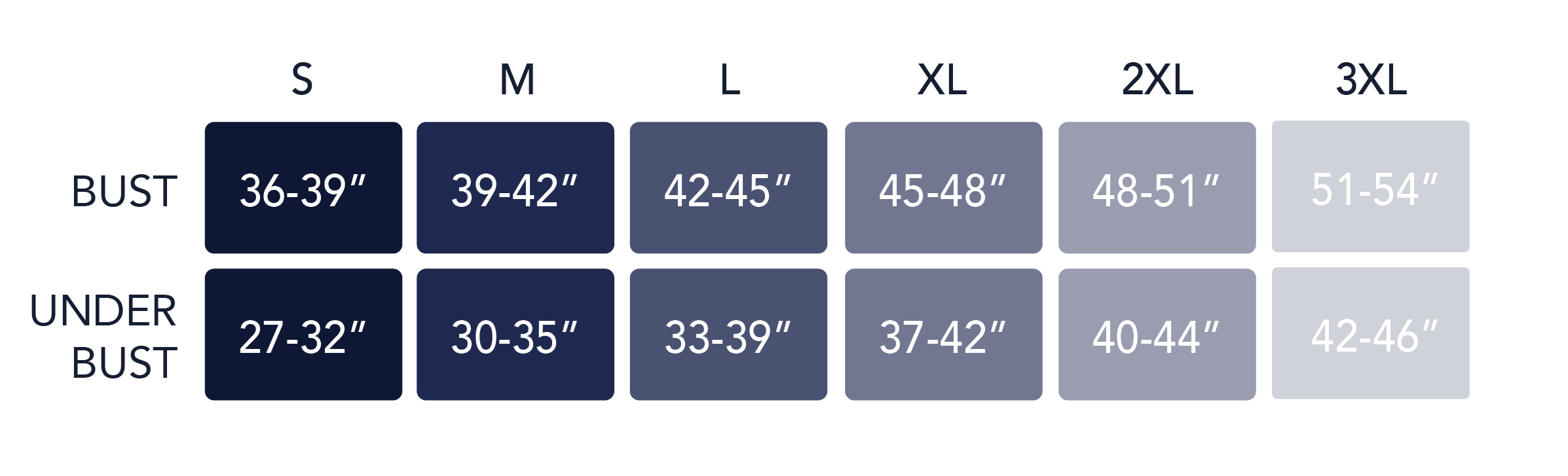 Defy Bra measurement chart