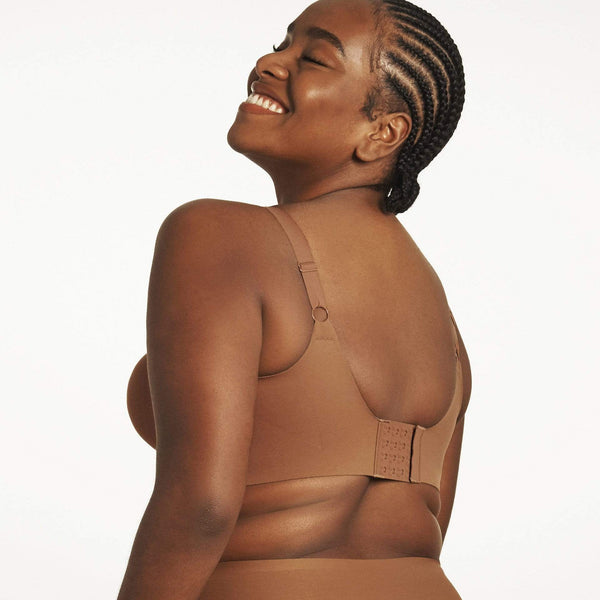 All Color: Clay | flexible band hook and eye nude brown wireless bra