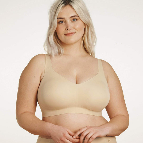 All Color: Sand | flexible band hook and eye tan nude wireless bra