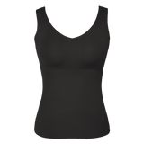 All Color: Black Onyx | black seamless wireless tank front on body