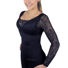 Classic with Bra Incorporated and Sleeves Full Lace Cover  | Dark Blue