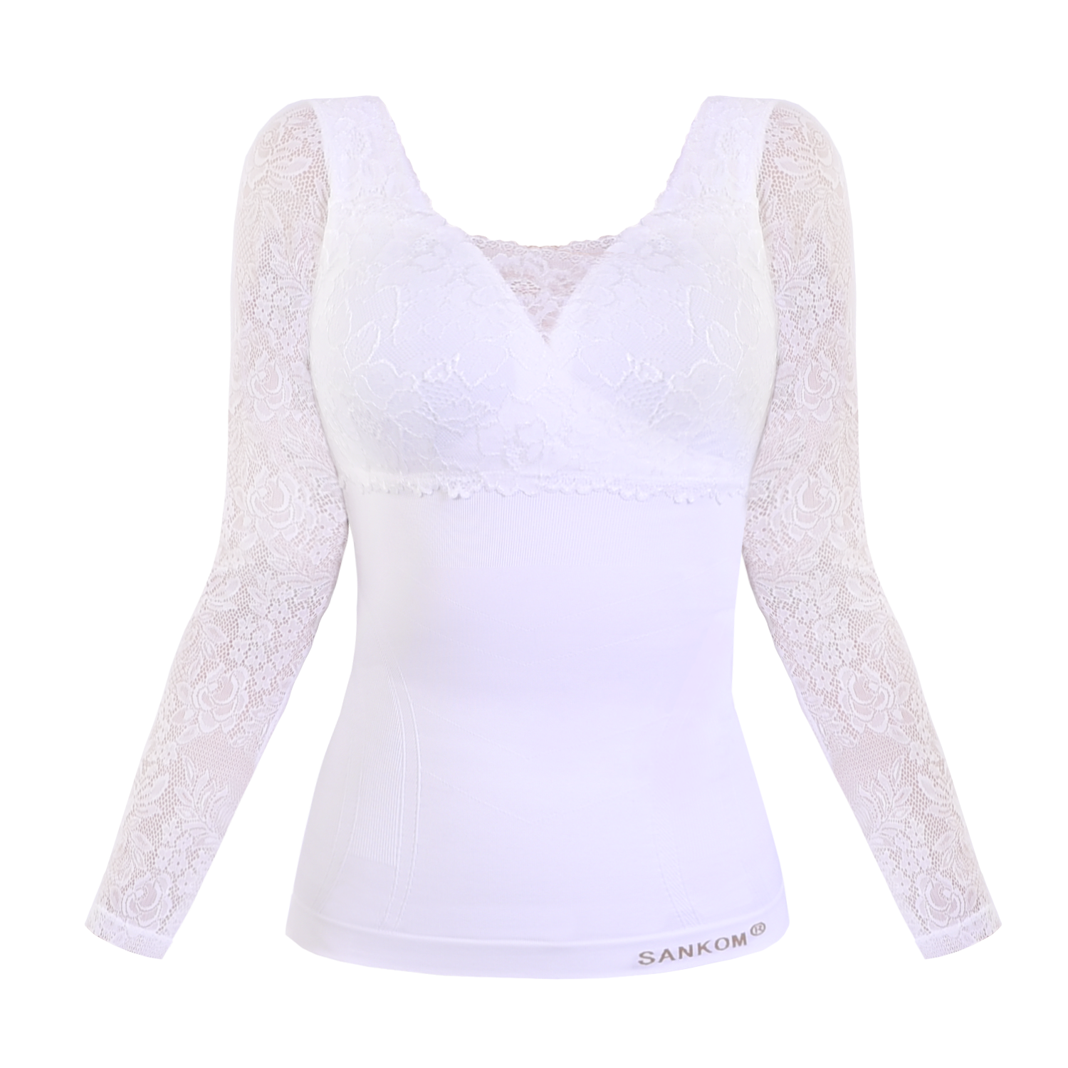 Classic with Bra Incorporated and Sleeves Full Lace Cover  | White