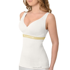Patent Yoga Vest with Bra Incorporated  | White & Gold