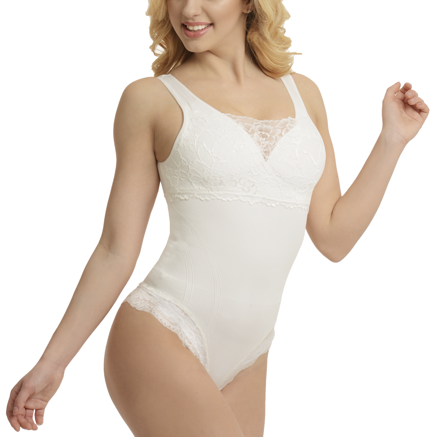 Classic Full Body with Bra Incorporated and Lace  | White