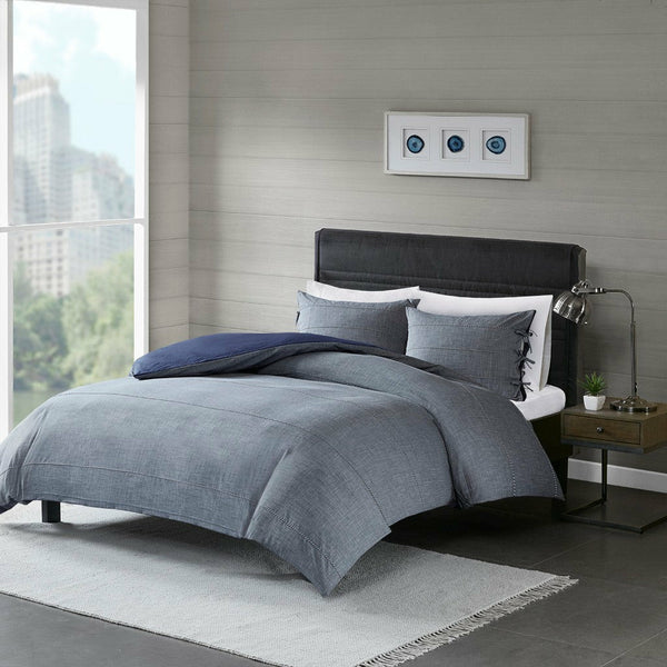 Raven 3 Piece Cotton Yarn Dye Duvet Cover Set - Chapin Furniture