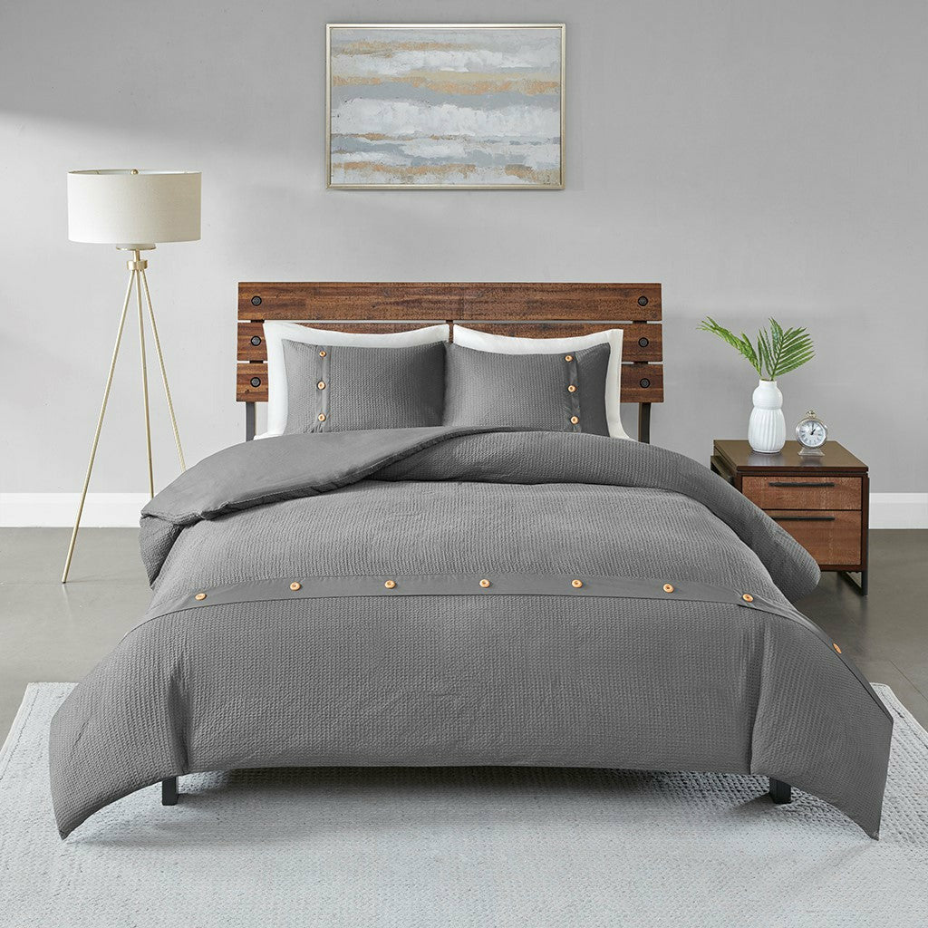Finley 3 Piece Cotton Waffle Weave Duvet Cover Set - Chapin Furniture