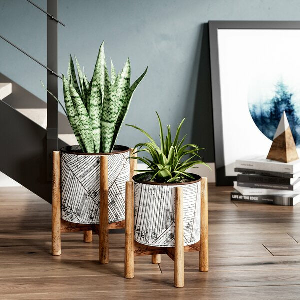 Set of 2 Pressed Tin Planters with Wooden Bases - Chapin Furniture