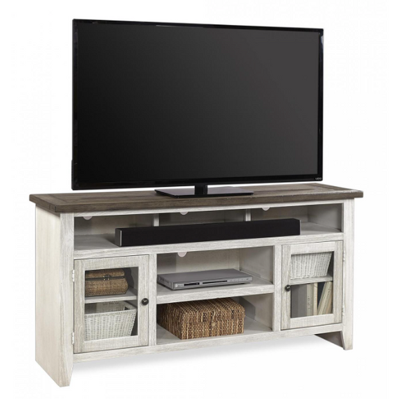 "Eastport Drifted White 65"" Console w/ 2 Doors - Chapin Furniture"