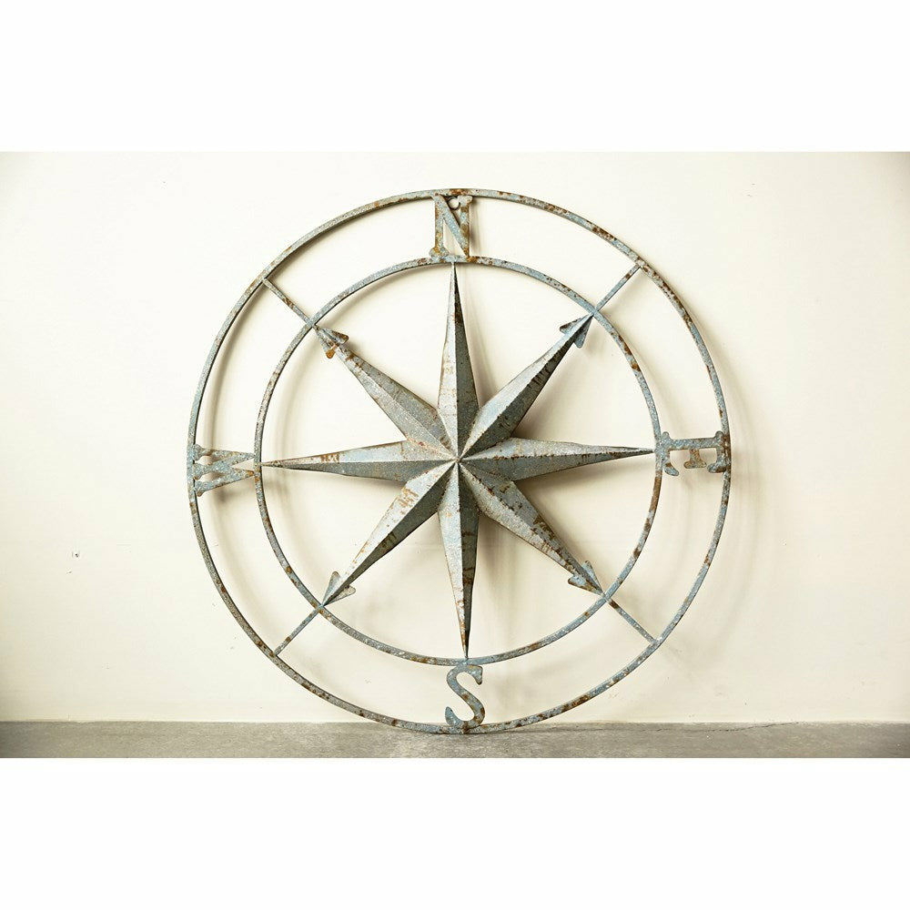 Round Metal Compass Wall Decor, Distressed Aqua - Chapin Furniture