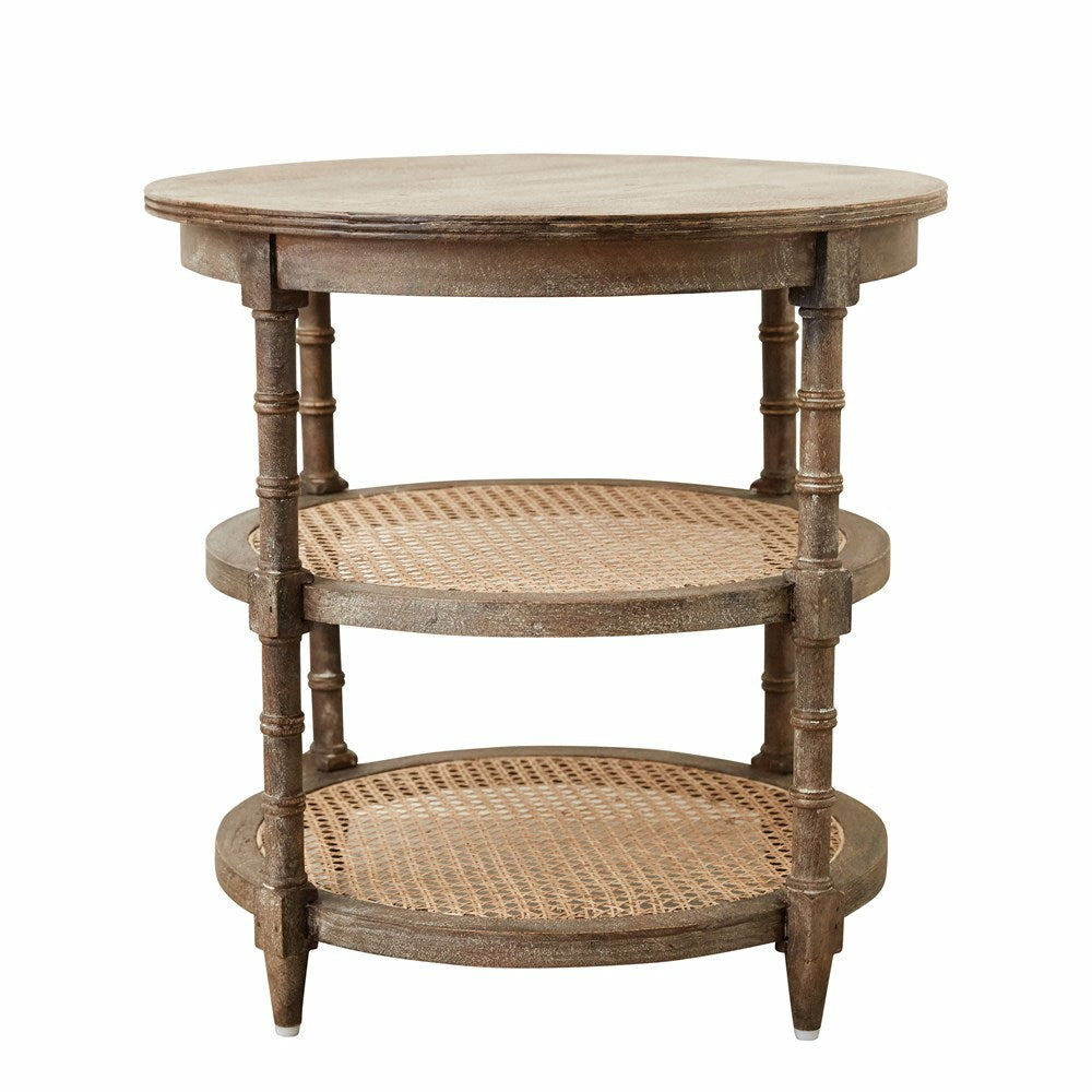 "23-1/2"" Round x 24""H Mango Wood Table w/ Cane Shelves - Chapin Furniture"