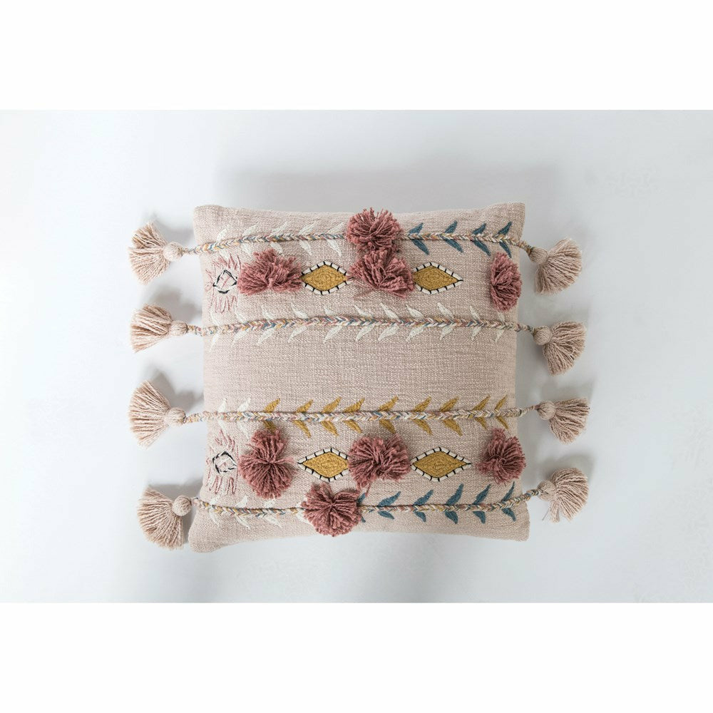Cotton Embroidered Pillow w/ Tassels & Applique, Pink - Chapin Furniture