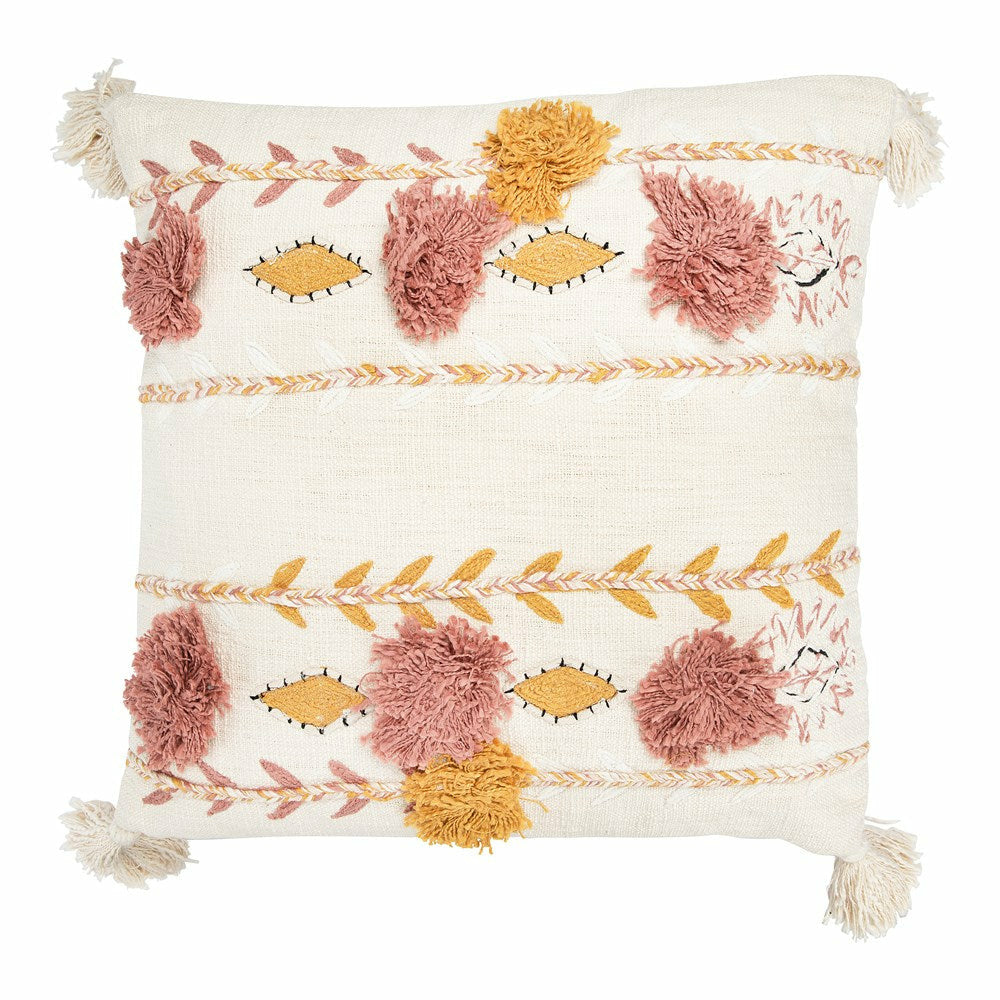 Cotton Embroidered Pillow w/ Tassels & Applique, Cream Color - Chapin Furniture