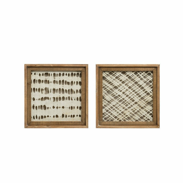 Square Wood Framed Handmade Paper Wall Decor- Set of 2 Styles - Chapin Furniture