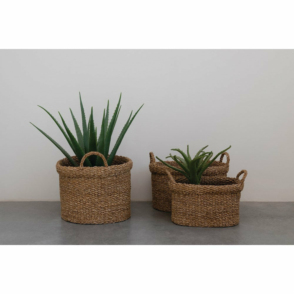 Oval Hand-Woven Seagrass Baskets with Handles, Set of 3 - Chapin Furniture
