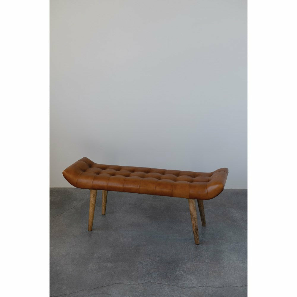 "49.25""W x 15""D x 19.75""H Leather Tufted Bench with Mango Wood Legs, Tobacco Color"