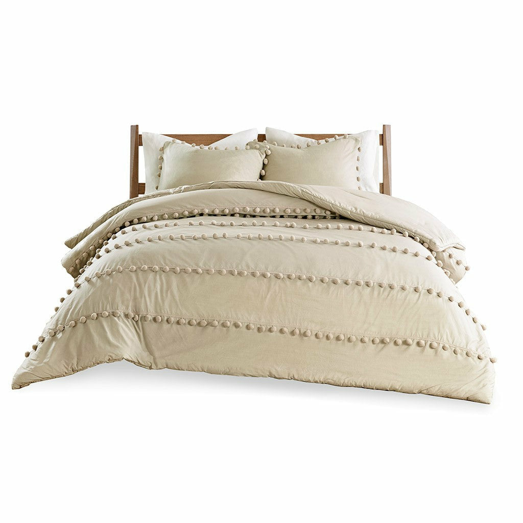 Leona 3 Piece Pom Pom Cotton Duvet Cover Set - Chapin Furniture