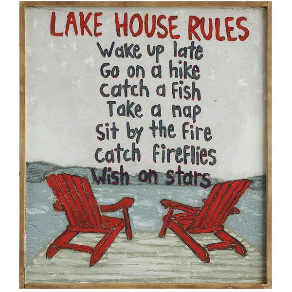 """Lake House Rules"" Wood Framed Canvas Wall Decor - Chapin Furniture"